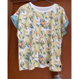 リボン付 デザインプリント ドルマン Tシャツ