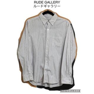 ルードギャラリー(RUDE GALLERY)のRUDE GALLERY ルードギャラリー ストライプ シャツ M 古着(シャツ)