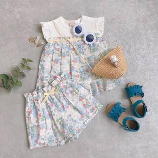 プティマイン(petit main)の【petit main】花柄タックドッキングテレコチュニック・ショートパンツ90(Tシャツ/カットソー)