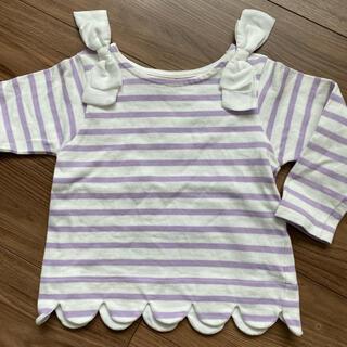 プティマイン(petit main)のpetit main リボン付きスカラップボーダー長袖Tシャツ ラベンダー(Tシャツ/カットソー)