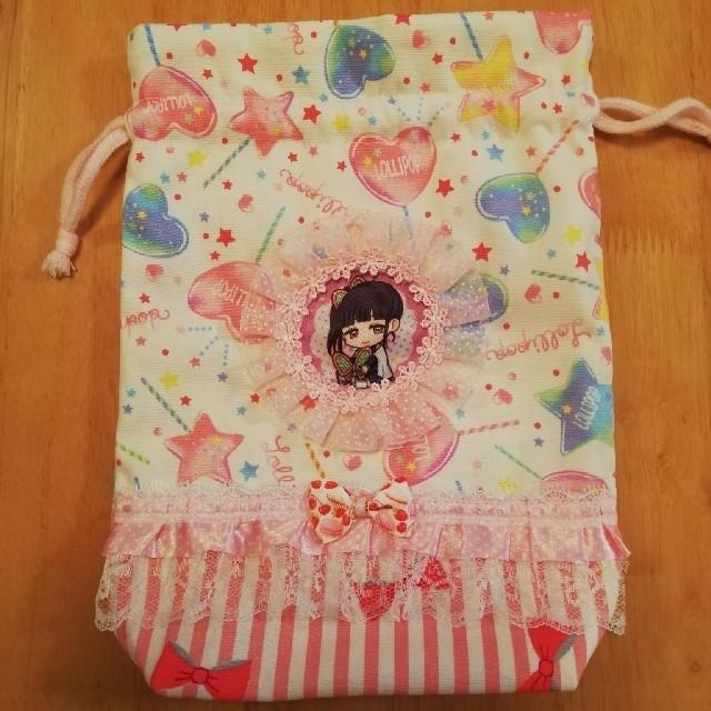 鬼滅の刃 巾着 給食袋 カナヲ ハンドメイド ハンドメイドのキッズ/ベビー(外出用品)の商品写真