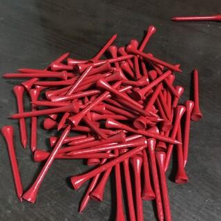 【激安】ゴルフティー40本 色は赤ロングティー 木製約7㎝(その他)