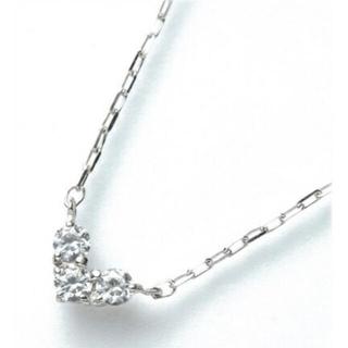 4℃ - 4℃【K10WG】ネックレス ダイヤ 3P ハート