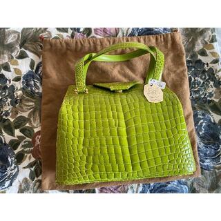 新品タグ付き 正規品 本革クロコダイル 日本製 レディースハンドバッグ グリーン