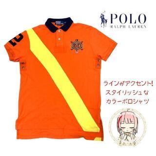 ポロラルフローレン(POLO RALPH LAUREN)のラルフローレン 刺繍 デカロゴ ポロシャツ L ゆるだぼ 派手 ライン POLO(ポロシャツ)