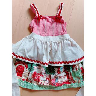 Shirley Temple - シャーリーテンプル 赤ずきんちゃんジャンパースカート エプロン付き100cm