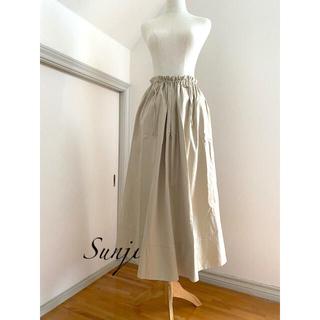 ドゥロワー(Drawer)のDrawer beige ボリューム フレア cotton ロングスカート 36(ロングスカート)