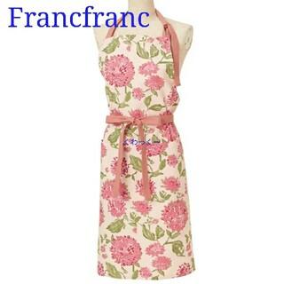 Francfranc - フランフラン エプロン マミリ 花柄 新品 フラワー 綿 ピンク 赤