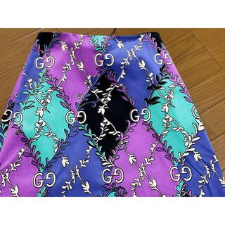 グッチ(Gucci)の期間限定●GUCCIグッチ紫エメラルドグリーンベルベットマキシ丈スカート40新品(ロングスカート)