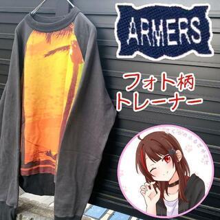アンダーアーマー(UNDER ARMOUR)のフォト柄 日本製 デカプリント トレーナー L 総柄 ゆるだぼ スウェット(スウェット)