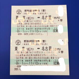 新幹線回数券 東京(都区内)⇔名古屋(市内) 乗車券 指定席特急券 2枚d(鉄道乗車券)