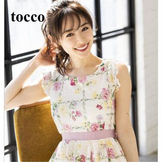 tocco - 泉里香さん着用 tocco 肩フリル チェック 花柄ワンピース 新品未使用