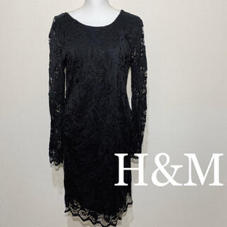 H&M 総レース ブラック シースルー ワンピース