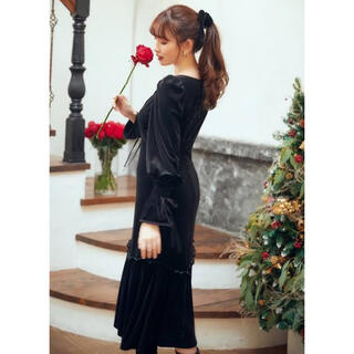 FRAY I.D - her lip to lux velour lace midi dress 新品
