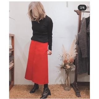 ドゥロワー(Drawer)の美品✴️19AWブラミンク ダブルフェイススリットスカート 38 赤ドゥロワー(ロングスカート)