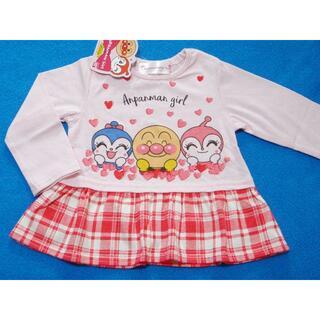 アンパンマン(アンパンマン)の新品 80cm アンパンマン ニコニコ切り替え長袖Tシャツ ピンク×レッド(Tシャツ)