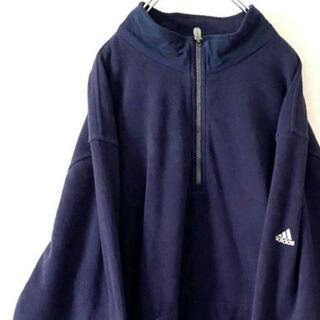 adidas - アディダス クライマプルーフ 刺繍 ハーフジップフリース ネイビー 紺色 古着