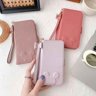 アイフォーン(iPhone)のiPhone11pro 手帳 ケース ミッキー ディズニー ピンク アプリコット(iPhoneケース)
