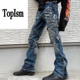 00s TopIsm 解体再構築 デニム フレア ボンテージパンツ ベルボトム