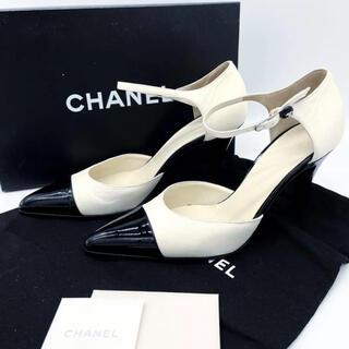 CHANEL - シャネル バックストラップヒールパンプス バイカラー白黒3Q26