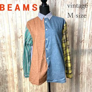 ビームス(BEAMS)のBEAMS シャツ アシンメントリー パッチワーク風 異素材 カラフル(シャツ)