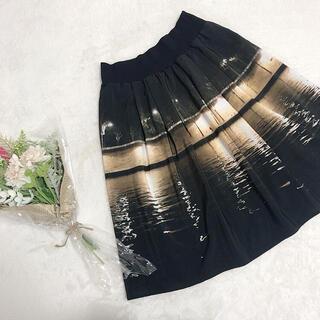 agnes b. - agnes b. 転写プリントスカート ブラック系 サイズ2