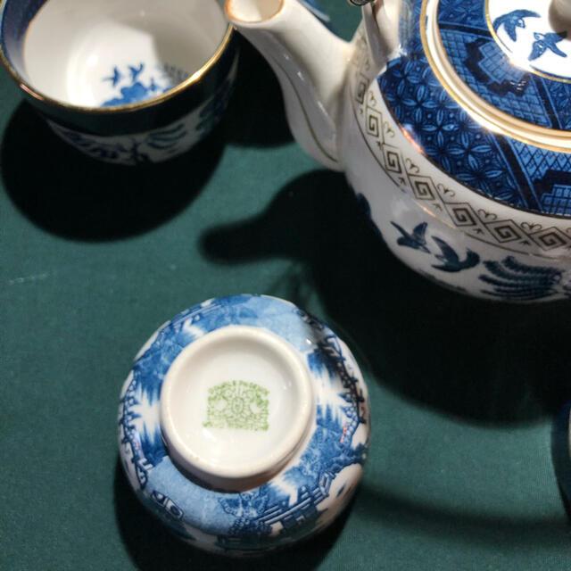 NIKKO(ニッコー)のニッコー 山水ブルー蓋つき湯呑み 急須セット インテリア/住まい/日用品のキッチン/食器(食器)の商品写真