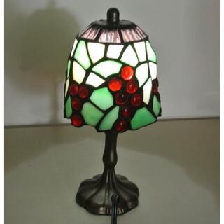 新品 ミニ卓上ランプ  ステンドグラス ブドウ柄 LEDランプ付き 動作保証