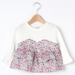 petit main - 美品♡プティマイン petit main 無地×花柄切り替えTシャツ カットソー