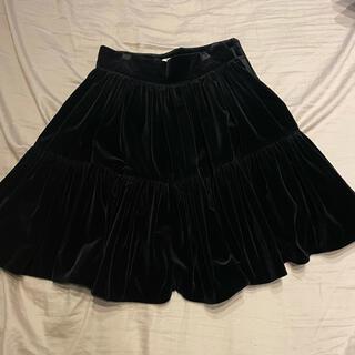ミュウミュウ(miumiu)のmiumiu ベルベットスカート 40サイズ(ひざ丈スカート)
