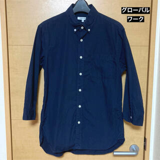グローバルワーク(GLOBAL WORK)のグローバルワーク ネイビー7部袖ワイシャツ Sサイズ(シャツ/ブラウス(長袖/七分))
