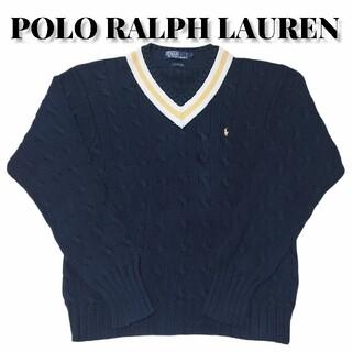 ポロラルフローレン(POLO RALPH LAUREN)の90s POLO RALPH LAUREN Vネックケーブルニットセーター古着(ニット/セーター)