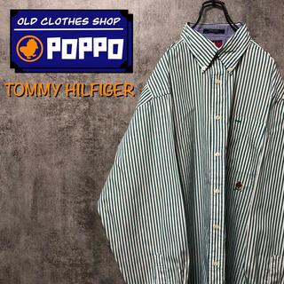TOMMY HILFIGER - トミーヒルフィガー☆オールド刺繍ロゴロンドンストライプシャツ 90s