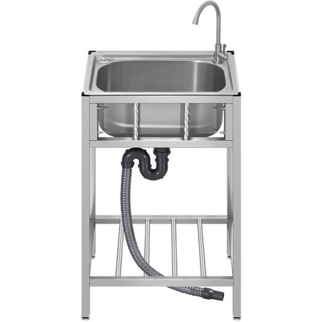 「最安出品」流し台 ステンレス製 屋外BBQ アウトドアに適用 錆びず 簡単取付 インテリア/住まい/日用品のキッチン/食器(その他)の商品写真