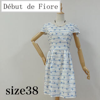 デビュードフィオレ(Debut de Fiore)のデビュードフィオレ フラワーワンピース ローズ ブルー(ひざ丈ワンピース)