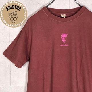 モンベル(mont bell)のA253 古着/半袖/Tシャツ/プリント/花/バックプリント/えんじ/レトロ/(Tシャツ(半袖/袖なし))