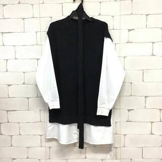 【同梱限定】定価8500円 ニットベストドッキングシャツチュニック 黒