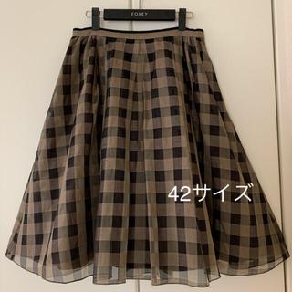 FOXEY - ♡美品♡ FOXEY 希少 42 ブロックチェック シルクリネン スカート