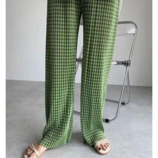 ZARA - 大人気 グリーン ギンガムチェック パンツ 韓国 オルチャン チェック