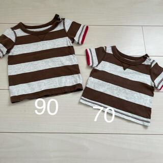 ベビーギャップ(babyGAP)のおそろいコーデ ブラウン&グレーホワイトボーダー 70サイズ90サイズ Tシャツ(Tシャツ)