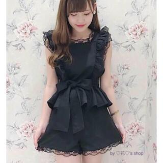 着るだけで可愛いセットアップ♡ブラック♡リボン前後で結えるデザイン♡(セット/コーデ)