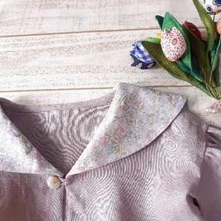 キャラメルベビー&チャイルド(Caramel baby&child )の受注製作[90~120]リネンのセーラーカラーふんわり袖ワンピース(ワンピース)