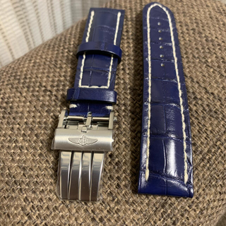 BREITLING - 新品)ブライトリングレザーベルト最新Dバックル青クロコ 22mm