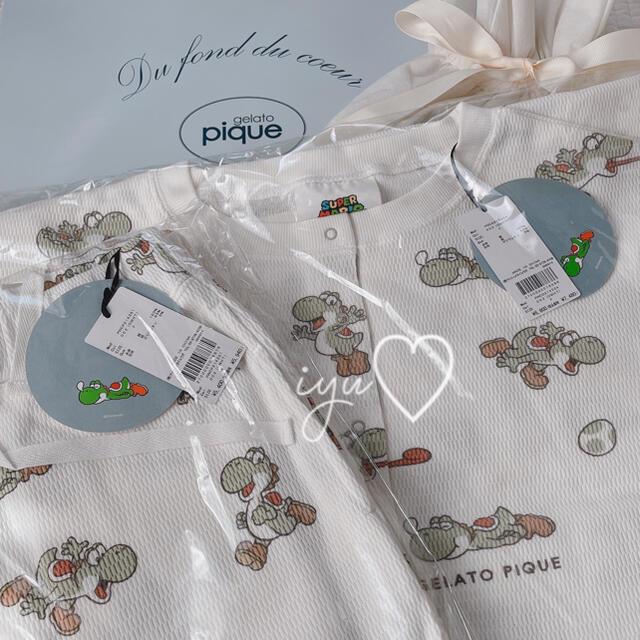 【新品】ジェラートピケ マリオコラボ♡ ヨッシー柄ワッフル ドレス&ロングパンツ レディースのルームウェア/パジャマ(ルームウェア)の商品写真