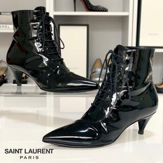 サンローラン(Saint Laurent)の2787 サンローラン パテント レースアップショートブーツ 黒(ブーツ)