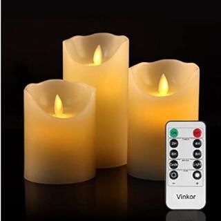 ★即日発送★ 本物みたい LEDキャンドル 3個組 自動消灯機能 リモコン付