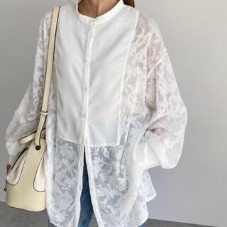 IENA - 【新品タグ付き】バンドカラーシースルーシアージャガードバルーン袖刺繍ブラウス