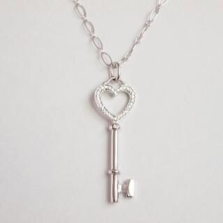 Tiffany & Co. - ティファニー ハート キー ペンダント ネックレス K18WG ダイヤ チェーン