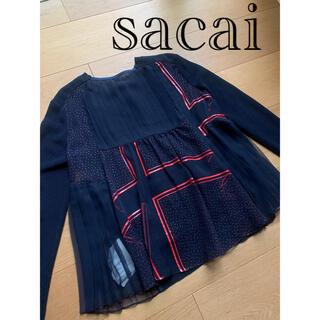sacai - sacai サカイ ドット柄バックプリーツカーディガン