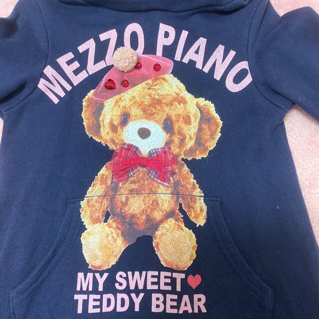 mezzo piano(メゾピアノ)のメゾピアノ テディベア柄 パーカーワンピース  110 キッズ/ベビー/マタニティのキッズ服女の子用(90cm~)(ワンピース)の商品写真